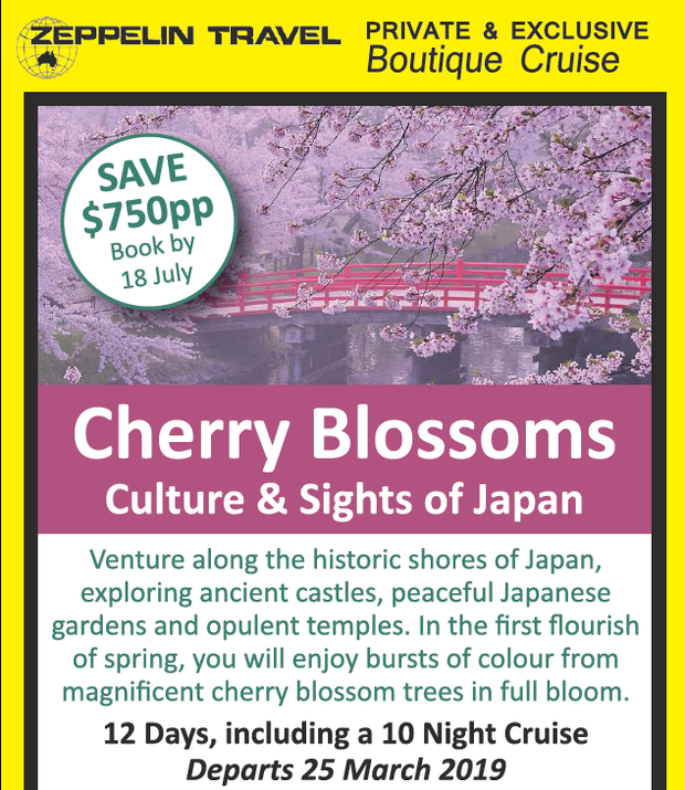 SAVE $750pp Book by 18 July   Cherry Blossoms Culture & Sights of Japan   Venture a...
