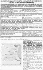 DANGGAN BALUN (FIVE RIVERS) PEOPLE NATIVE TITLE CLAIM - NOTICE OF AUTHORISATION MEETING