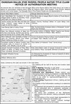 DANGGAN BALUN (FIVE RIVERS) PEOPLE NATIVE TITLE CLAIM - NOTICE OF AUTHORISATION MEETING