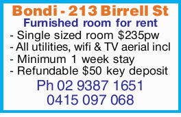 Furnished room for rent   - Single sized room $235pw   - All utilities, wifi & TV aer...