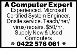 A Computer Expert Experienced. Microsoft Certified System Engineer. Onsite service. Teach/net/vir...