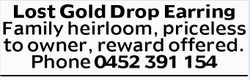 Lost Gold Drop Earring   Lost a Family heirloom in the Newton/Tranmere area. This is a...