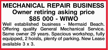 Owner retiring asking price $85 000 - WIWO Well established business - Mermaid Beach. Offering qu...