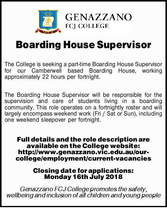 Boarding House Supervisor   The College is seeking a part-time Boarding House Supervisor for...