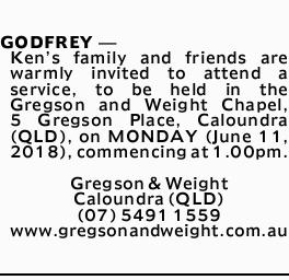 <p> <strong>GODFREY, Kenneth</strong> </p> <p> Ken's family and friends are warmly invited to...</p>
