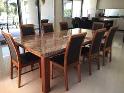 Brazilian granite table top 2.6 x 1.38 & Tasmanian Blackwood, 8 Tasmanian Blackwood chairs with choc...