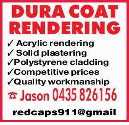 DURA COAT RENDERING   Acrylic rendering   Solid plastering   Polystyrene cladding  ...
