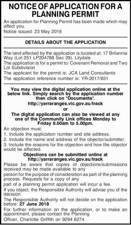 <p> <strong>NOTICE OF APPLICATION FOR A PLANNING PERMIT<br />
