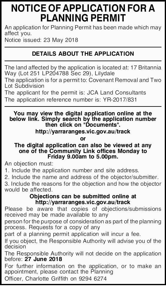NOTICE OF APPLICATION FOR A PLANNING PERMIT