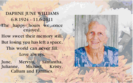 DAPHNE JUNE WILLIAMS