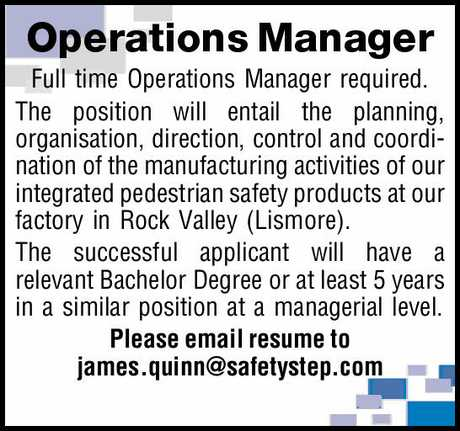 <p> <strong>Operations Manager</strong> </p> <p> Full time Operations Manager...</p>