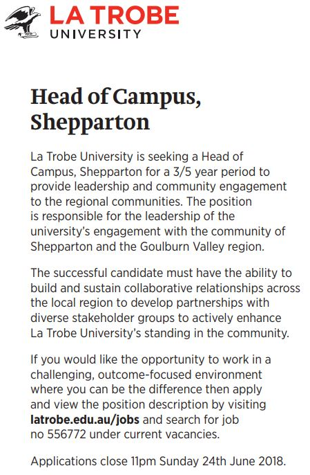 La Trobe University is seeking a Head of Campus, Shepparton for a 3/5 year period to provide lead...