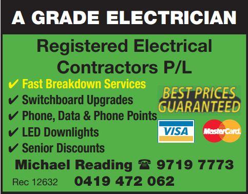 A GRADE ELECTRICIAN - BEST PRICE GUARANTEE    Fast Breakdown Service  Switchboard Upg...