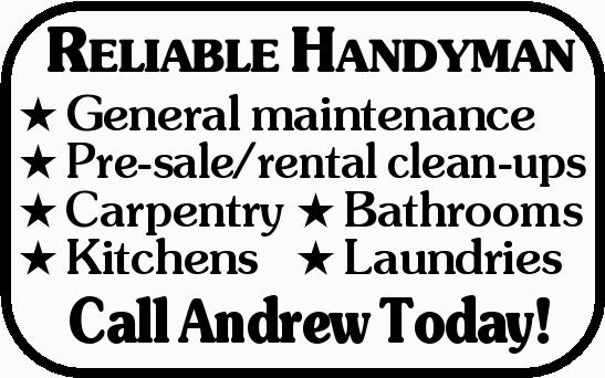 General maintenance  Pre-sale/rental clean-ups  Carpentry  Bathrooms  Kit...