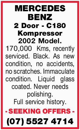 2 Door - C180 Kompressor 2002 Model. 170,000 Kms, recently serviced. Black. As new condition, no...