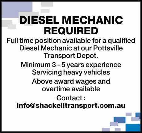 <p> <strong>DIESEL MECHANIC REQUIRED</strong> </p> <p>