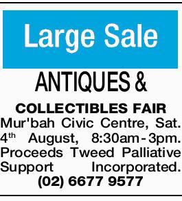 <p> <strong>ANTIQUES & COLLECTIBLES FAIR</strong> </p> <p> Mur'bah Civic Centre, Sat. 4th...</p>