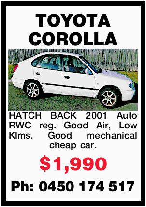HATCH BACK 2001 Auto RWC reg. Good Air, Low Klms. Good mechanical cheap car. $1,990 Ph: