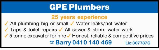 GPE Plumbers 25 years experience All plumbing big or small Water leaks/hot water Taps & toile...