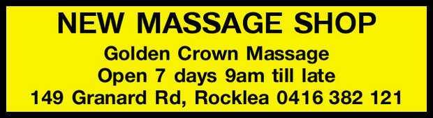 NEW MASSAGE SHOP    Open 7 days 9am till late   149 Granard Rd, Rocklea