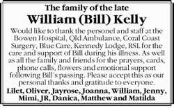 The family of the late William (Bill) Kelly 