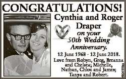 CONGRATULATIONS! Cynthia and Roger Draper on your 50th Wedding Anniversary. 6824333aa 12 June 1968 -...