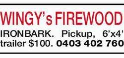 WINGY's FIREWOOD  IRONBARK.  Pickup,  6'x4' trailer  $1...