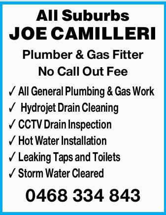PLUMBER & GAS FITTER   0468334843   Joe Camilleri   Hydrojet Drain Cleaning (Sewe...