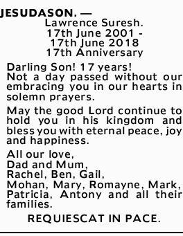 JESUDASON. _ Lawrence Suresh.   17th June 2001 - 17th June 2018   17th Anniversary   ...