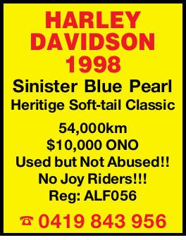 HARLEY DAVIDSON 1998   Sinister Blue Pearl    Heritige Soft-tail Classic    54,000km...