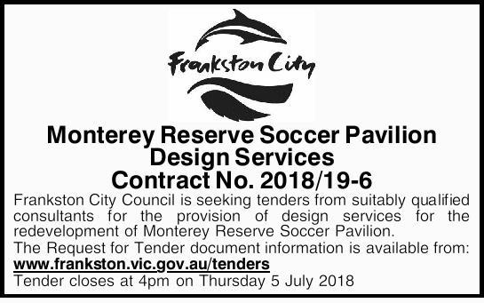 Monterey Reserve Soccer Pavilion Design Services Contract No. 2018/19-6    Frankston City Cou...