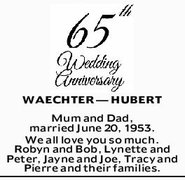 WAECHTER _ HUBERT Mum and Dad, married June 20, 1953.