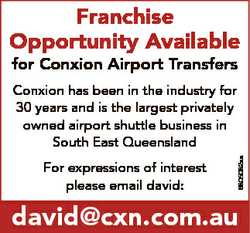 Franchise Opportunity Available for Conxion Airport Transfers For expressions of interest please ema...