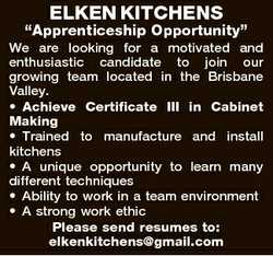"ELKEN KITCHENS ""Apprenticeship Opportunity"" We are looking for a motivated and enthusiasti..."