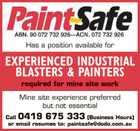EXPERIENCED INDUSTRIAL BLASTERS & PAINTERS