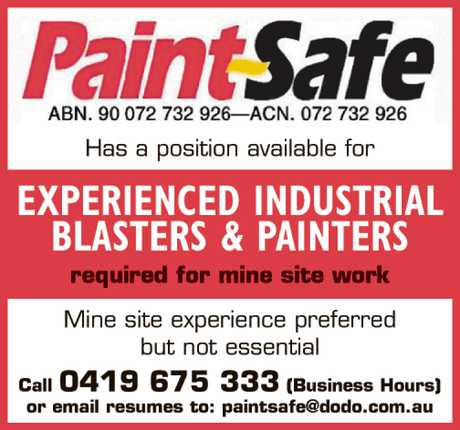<p> PAINTSAFE Has a position available for EXPERIENCED INDUSTRIAL BLASTERS &...