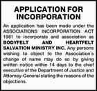 APPLICATION FOR INCORPORATION