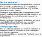 Service technician  & Sweeper operator