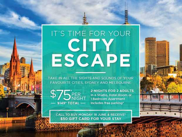TAKE IN ALL THE SIGHTS AND SOUNDS OF YOUR FAVOURITE CITIES, SYDNEY AND MELBOURNE   $75* PER N...
