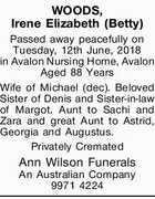 WOODS, Irene Elizabeth (Betty