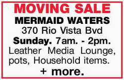 MOVING SALE   Sunday. 7am. - 2pm.    Leather Media Lounge, pots, Household items. + more....