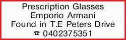 Prescription Glasses Emporio Armani Found in T.E Peters Drive 0402375351