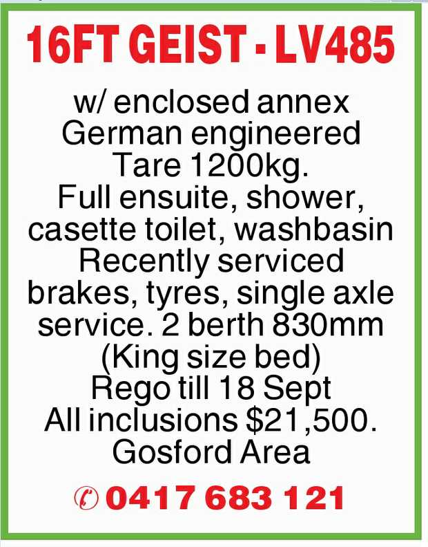 w/ enclosed annex German engineered Tare 1200kg. Full ensuite, shower, casette toilet, washbasin...
