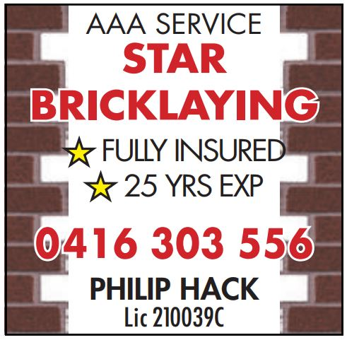 Star Bricklaying- AAA Service!    •Fully Licenced & Insured •25 Years...
