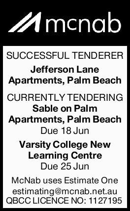 MCNAB   SUCCESSFUL TENDERER   Jefferson Lane Apartments, Palm Beach CURRENTLY TENDERING S...