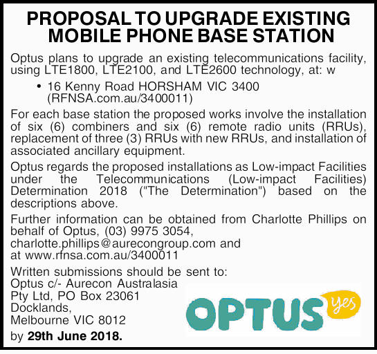PROPOSAL TO UPGRADE EXISTING MOBILE PHONE BASE STATION Optus plans to upgrade an existing telecom...