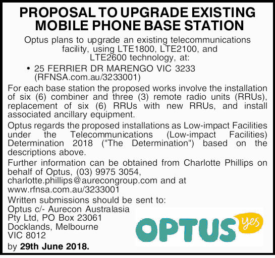 PROPOSAL TO UPGRADE EXISTING MOBILE PHONE BASE STATION   Optus plans to upgrade an existing t...