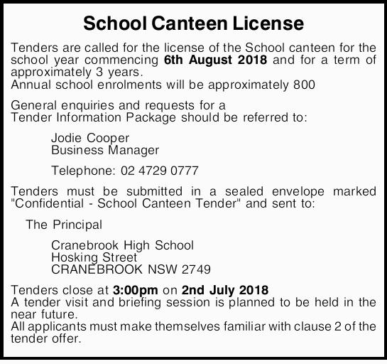 School Canteen License    Tenders are called for the license of the School canteen for the sc...