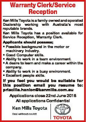 Warranty Clerk/Service Reception Ken Mills Toyota is a family owned and operated Dealership working...