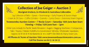 Collection of Joe Geiger  Auction 2 Aboriginal Artefacts, Ex-Windorah & Australiana Collectables...